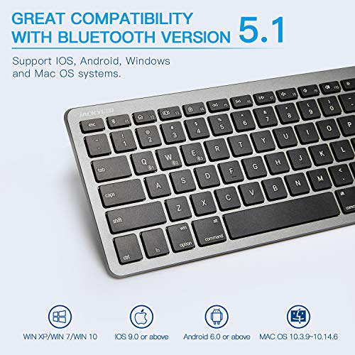 Rechargeable Multi-Device Bluetooth Keyboard with Numeric Keypad, JACKYLED