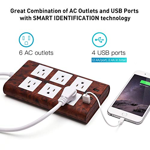 SUPERDANNY 9.8ft Extension Cord Power Strip Dark Wood