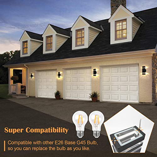 SUPERDANNY Outdoor Wall Light Fixtures, Includes 2 Replaceable E26 Base Warm Light LED Bulbs, ETL Approval