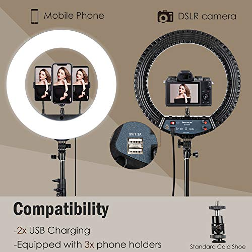 18 inch LED Ring Light with 70.8in Tripod Stand JACKYLED