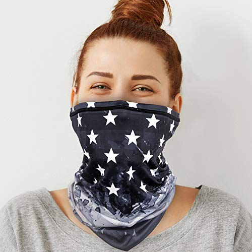 PACEARTH Face Cover Mask Bandana Neck Gaiter Scarf, US flag 22, Adult