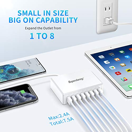SUPERDANNY Multi USB Charger with 8 Ports Desktop USB Charging Station, iSmart Multiple Port, White