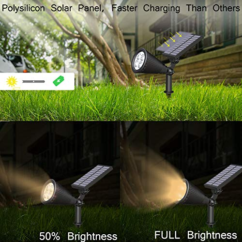 JACKYLED Solar Spotlights Outdoor Upgraded IP67 Waterproof Solar Powered Landscape Spotlights 2-in-1 Wall Light Decorative Lighting for Pathway Garden Patio Yard Driveway Pool 4Pack(Warm Light)