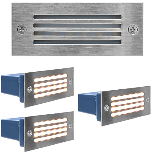 Stainless Steel Step Lights JACKYLED IP65 Waterproof LED Deck Light Indoor/Outdoor Horizontal Stair Lighting