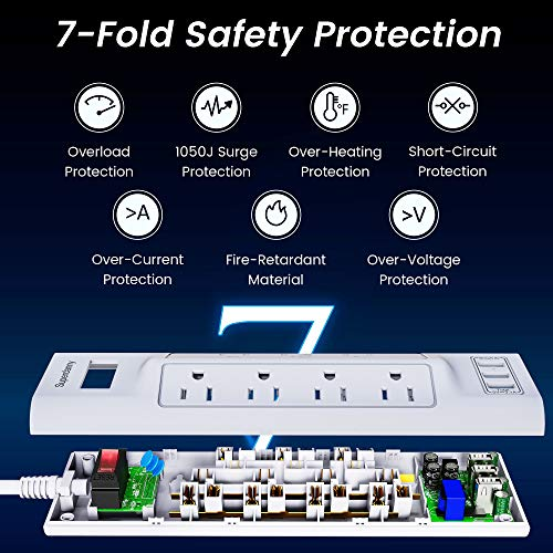 9.8 Ft Power Strip Surge Protector with USB, SUPERDANNY 10-in-1 Portable Outlet Strip with 7 AC 3 USB, Desktop Fireproof Extension Cord Mountable for Home Office Dorm Entertainment Appliances, White