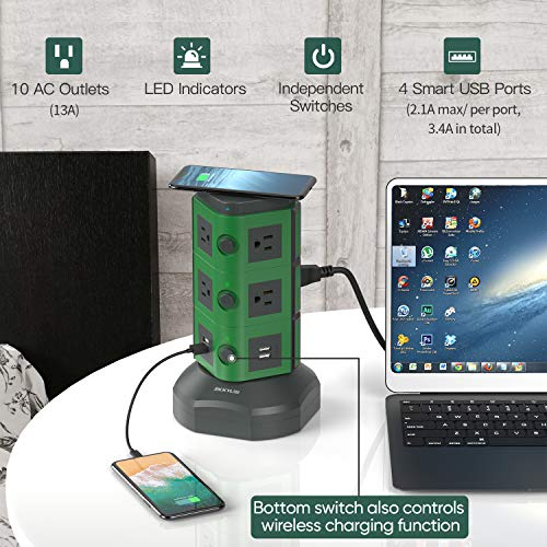 JACKYLED Power Strip Wireless Charger Surge Protector Tower with 4 USB Ports and 13A 10 Outlets Green and Dark Gray