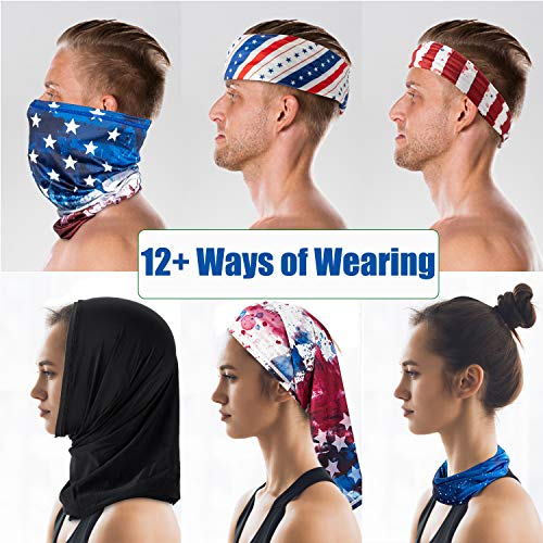 PACEARTH Face Cover Mask Bandana Neck Gaiter Scarf, US flag 03, Adult/Kid
