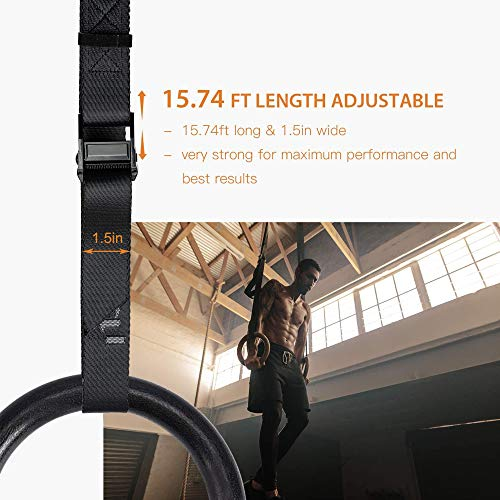 PACEARTH Gymnastic Ring Straps 15.74ft Adjustable with Scale Support 1763lbs Olympic Gym Rings Straps