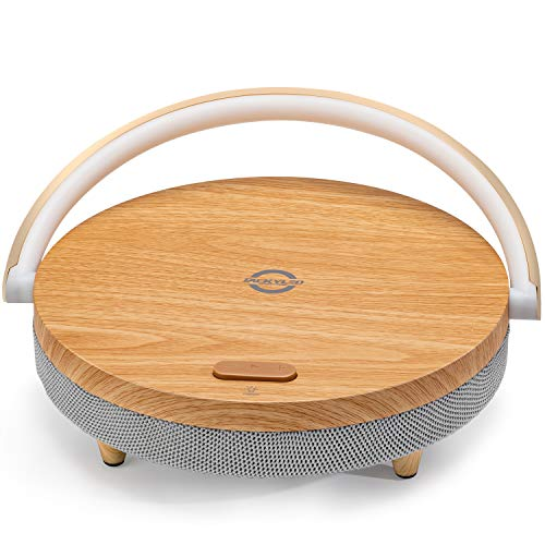 Portable Bluetooth Speaker with Wireless Charger and LED Night Light JACKYLED Fast Charging Stand Wood Grain