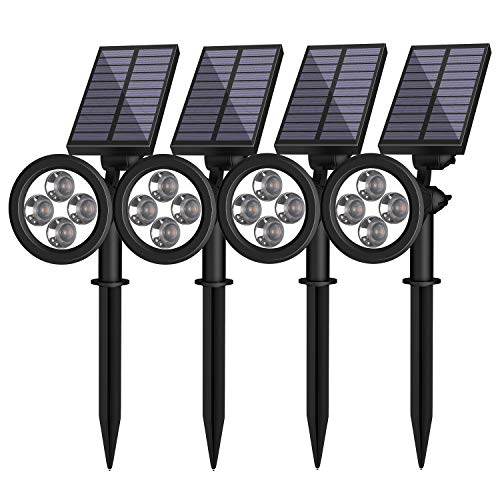 JACKYLED Solar Spot Lights Outdoor Upgraded IP67 Waterproof Solar Powered Landscape Spotlights 4 Pack White Light