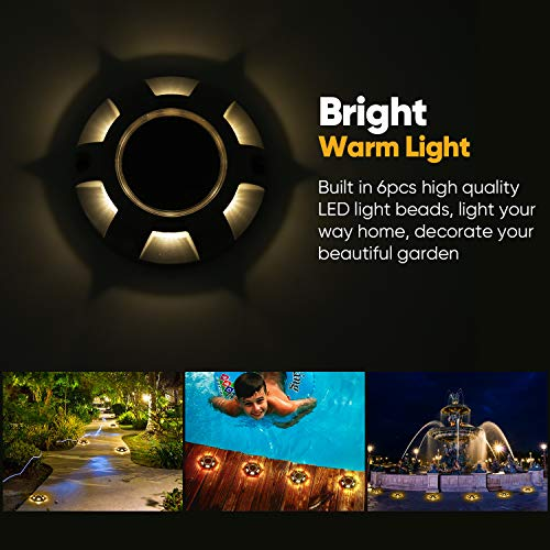 Driveway Dock LED Solar Lights Warm White JACKYLED 12-Pack Aluminum Solar Powered Boat Deck Lights Outdoor Waterproof Wireless Road Markers for Step Sidewalk Stair Garden Pathway
