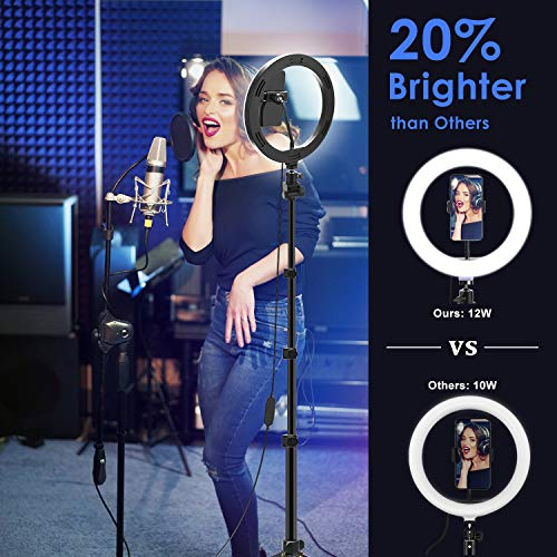 "10"" LED Selfie Ring Light with Tripod Stand for Live Stream/Makeup/YouTube/TikTok Video"