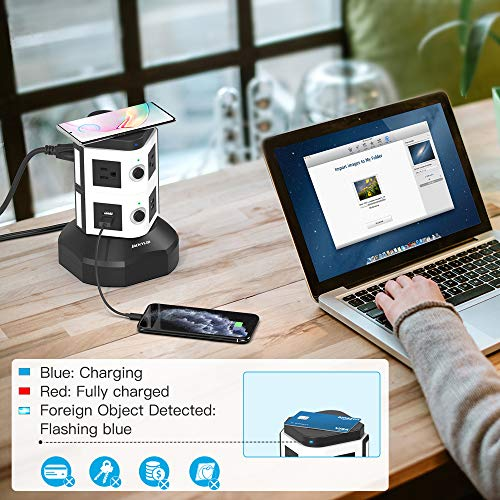 JACKYLED Power Strip Tower with Wireless Charger Surge Protector Electric Outlet