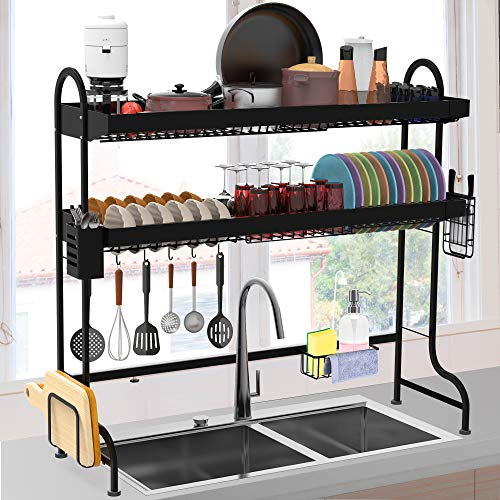 "Over the Sink Dish Drying Rack, ULG Length Adjustable (24.4""-37"") Stainless Steel Paint Sink Dish Rack"