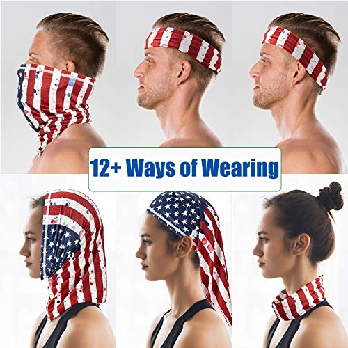 PACEARTH Face Cover Mask Bandana Neck Gaiter Scarf, US flag 04, Adult/Kid