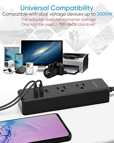 SUPERDANNY Power Strip with 6 Worldwide Adapters, ETL Tested Outlet Extender with 3 USB Fast Charging Ports, Travel Adaptor Kit