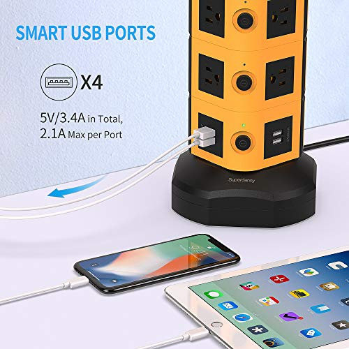 Power Strip Tower with 10W Wireless Charger-SUPERDANNY Surge Protector Tower 13A with 10 Outlet + 4 USB Ports and 6.5ft Retractable Cable, Desktop Charging Station for Home Office Dorm Garage, Orange
