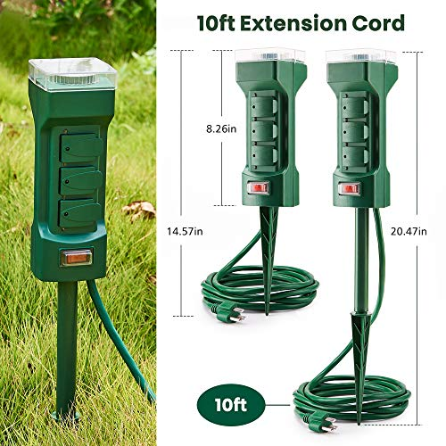 Outdoor Power Stake Timer with 10ft Extension Cord & 6 AC Outlets