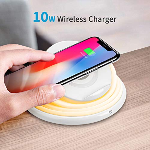 JACKYLED Wireless Charger 10W Fast Charging Phone Stand with Foldable LED Night Light