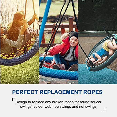 PACEARTH Saucer Tree Swing Ropes Support 660lbs 70.87in Length Adjustable Hanging Ropes - Pack of 2