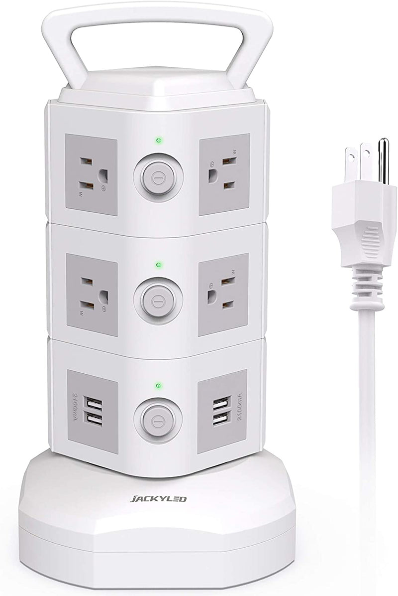 Power Strip Surge Protector Tower JACKYLED 10 AC Outlets 4 USB Ports