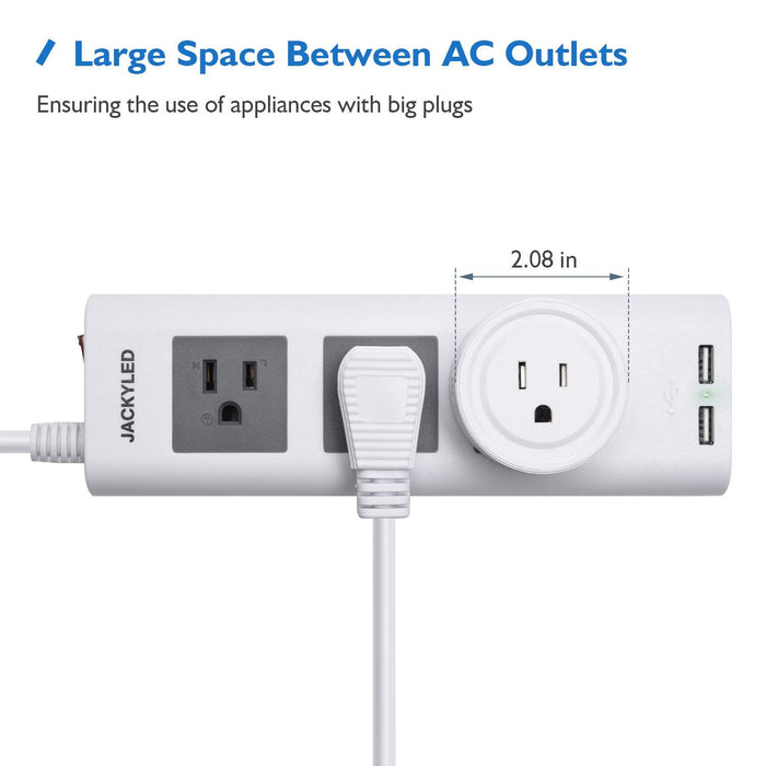 Desktop Power Strip with USB JACKYLED  for Travel Home Office White