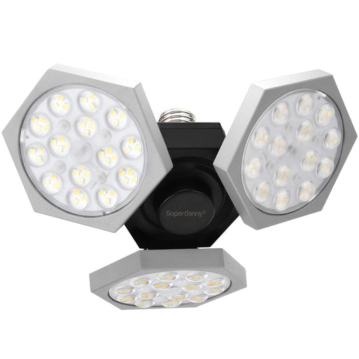 SUPERDANNY Led Garage Lights Deformable 6900Lumens Adjustable Gray