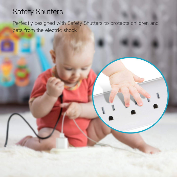 Surge Protector Power Strip with USB ETL Approval 15A Angle Flat Plug Mountable Extension Cord  White SUPERDANNY