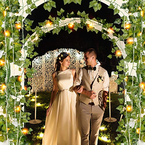 JACKYLED 84 Ft 12 Pcs Artificial Ivy Garland Fake Vines with 80 LED String Light and Remote Control Hanging Garland for Home Kitchen Garden Office Wedding Party Indoor & Outdoor Decoration