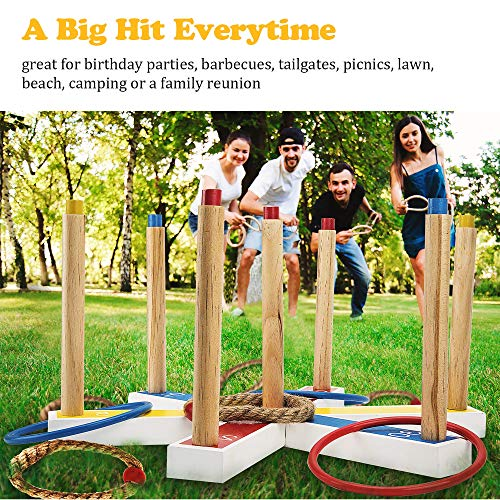 PACEARTH Ring Toss Game Set with 7 Scoring Points 20 Rings - 10 Rope & 10 Plastic Outdoor Backyard Games