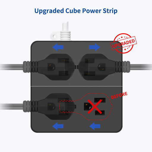 [2020 Upgraded] 9.8ft Surge Protector Power Strip - SUPERDANNY Blue