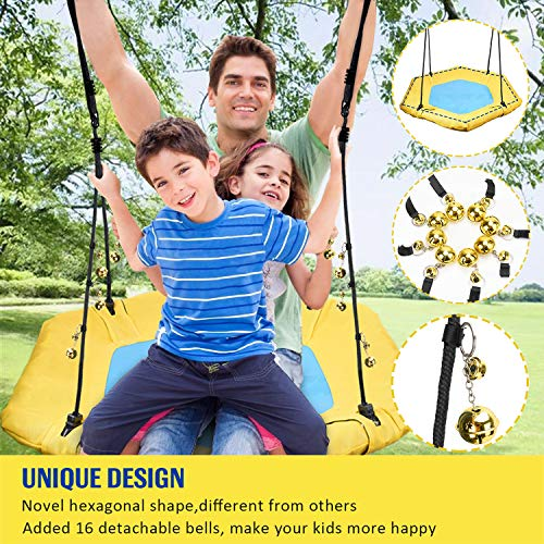 PACEARTH Tree Swing for Kids Adults with 16 Jingle Bells Support 600lb- Yellow & Blue