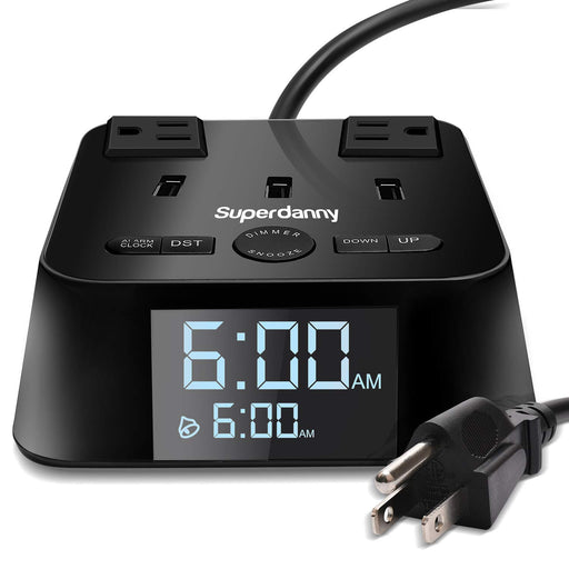 SUPERDANNY Alarm Clock Charger Power Strip Surge Protector  Black
