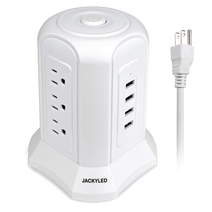 JACKYLED Power Strip Tower with USB Ports-White