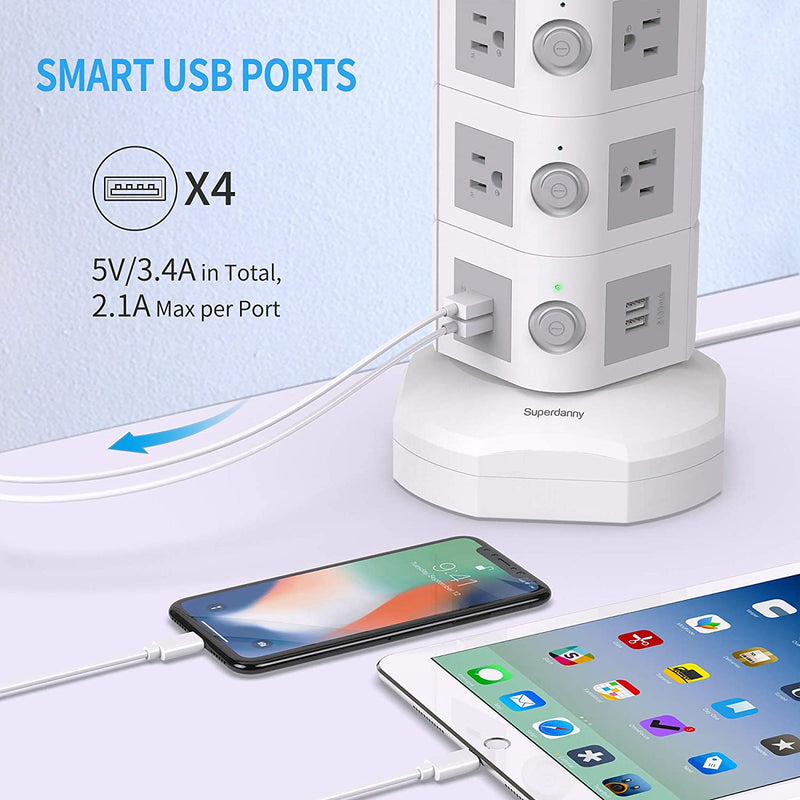 Power Strip Tower with 10W Wireless Charger SUPERDANNY, Surge Protector Power Strip Tower