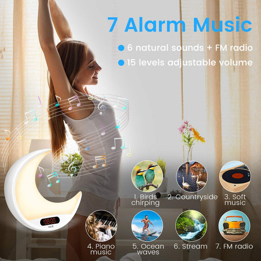 Sunrise Alarm Clock Wake Up Light ULG Sunrise Simulation and Sunset Fading Night Light Remote Control Clock with 6 Natural Sounds/FM Radio/Snooze Function/7 Colors Bedside Lamp for Bedrooms 24h Format