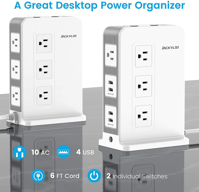 Vertical Power Strip Tower Surge Protector 15A, JACKYLED 10 Wide Outlets 4 USB Ports, 2 Individual Switches