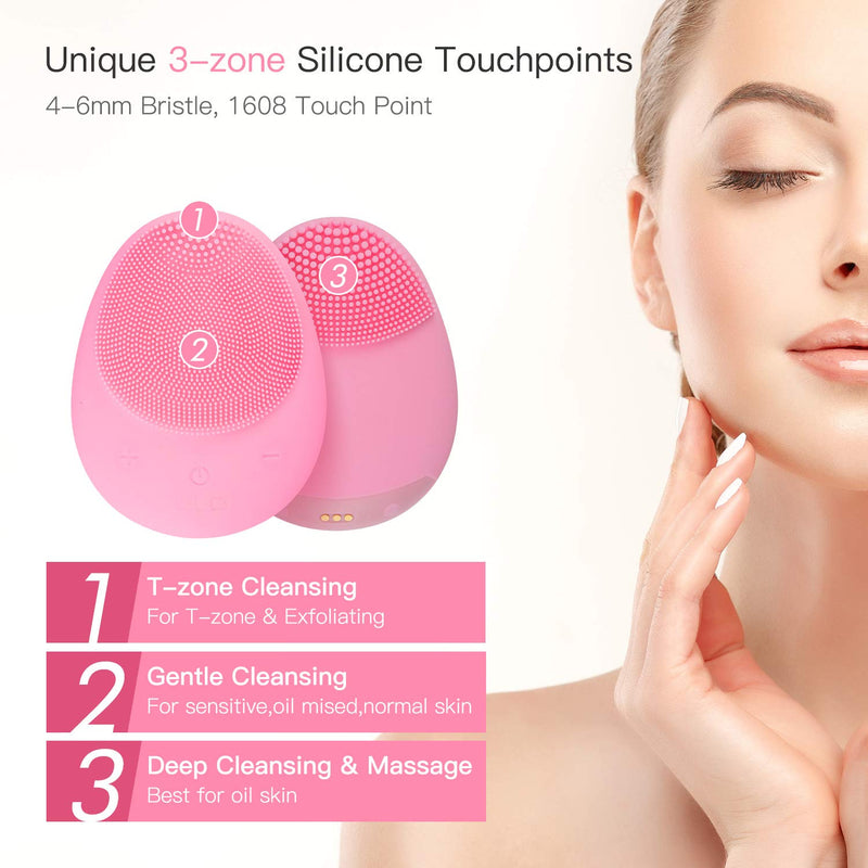 ULG Facial Cleansing Brush Silicone Sonic Waterproof Wireless Charging Face Cleaner