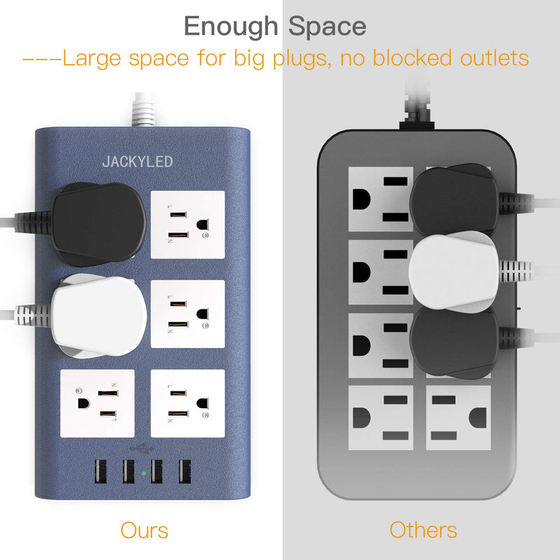 JACKYLED 15A Power Strip Surge Protector- Blue White
