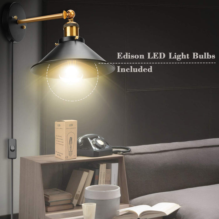 JACKYLED Plug in Wall Sconces with LED Bulbs 2-Pack