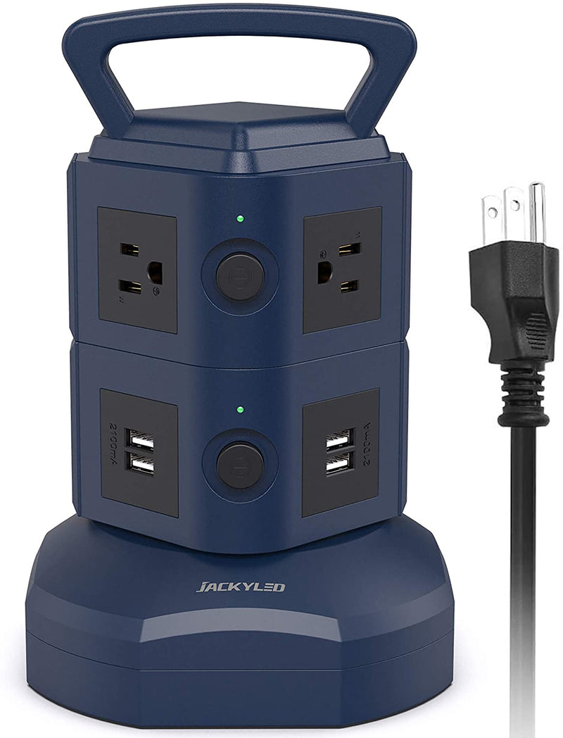Power Strip Tower JACKYLED 6 AC Outlets 4 USB Ports 3000W