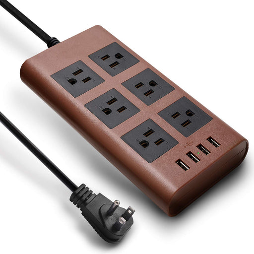 SUPERDANNY 9.8ft 15A Surge Protector Power Strip with USB  Brown