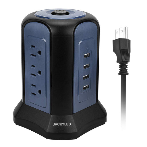 Power Strip Tower with USB Ports JACKYLED Multi Outlets 4 USB Ports and 9 AC Outlets Surge Protector 9.8ft Extra Long Cord Electric Charging Station - Blue Black
