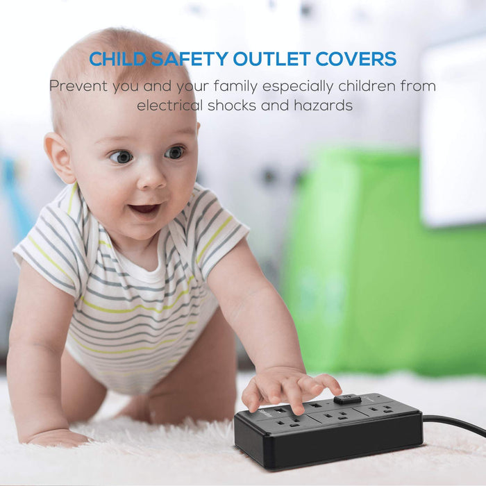 Lightweight Small Size Power Strip - Surge Protector with Child Safety Outlet Cover Fasten Cable Tie