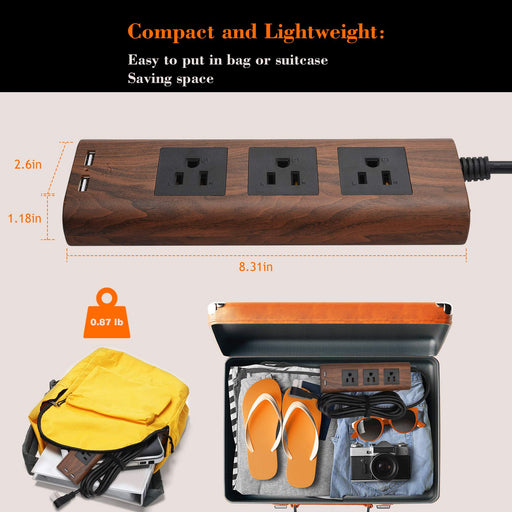 Desktop Power Strip with USB - JACKYLED 10ft Flat Plug Extension Cord Vintage Surge Protector 3 Outlets Electrical Power Outlet Extender Fire-Retardant USB Charging Station - Brown Walnut Wood Grain