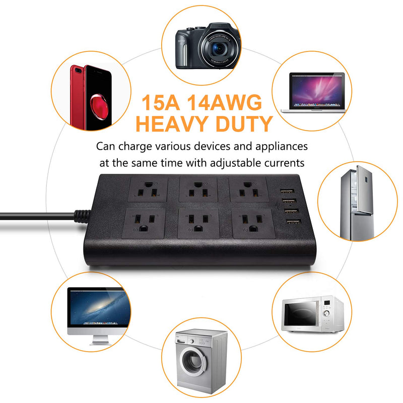 SUPERDANNY  Surge Protector Power Strip Flat Plug 10ft Extension Cord Black / Brown