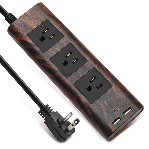 SUPERDANNY Surge Protector Power Strip 9.8ft Extension Cord Vintage Walnut Grain