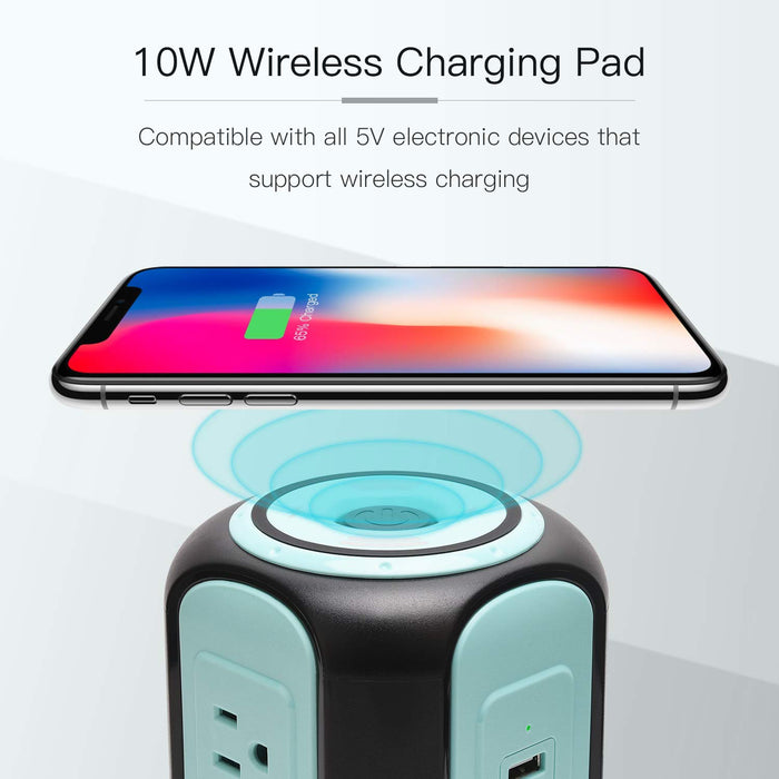 SUPERDANNY 10ft Power Strip Tower Wireless Charger Surge Protector Extension Cord 10A 9-Outlet 4 USB 4.5A Fast Speed Charging Electrical Station Universal Socket for Laptop Phone Black and Blue