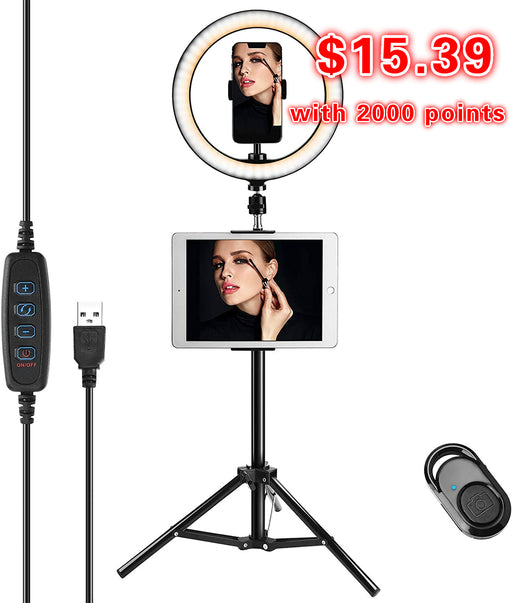 【$15.39 with 2000 points】10'' Selfie Ring Light with Tripod Stand