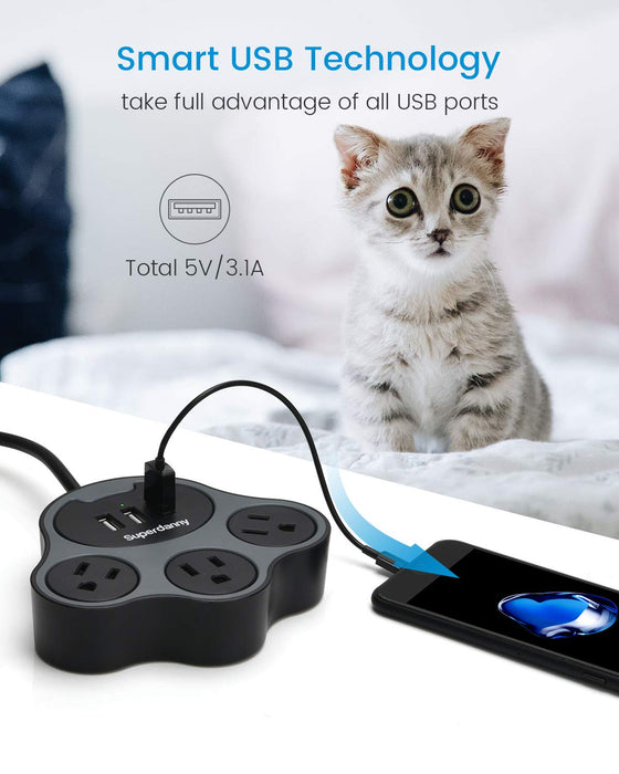[2020 Fashion Design] SUPERDANNY 10A Paw Power Strip with USB Ports 3.1A 5ft Estension Cord with Multiple Protection Gray Black